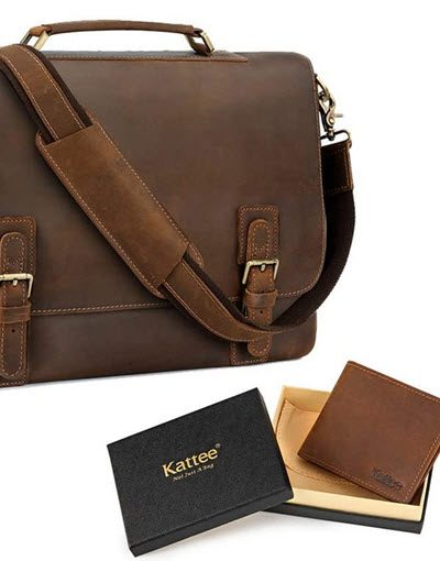 Kattee Leather Messenger Bag
