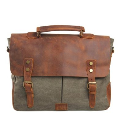 Retro Leather Canvas Messenger Bag